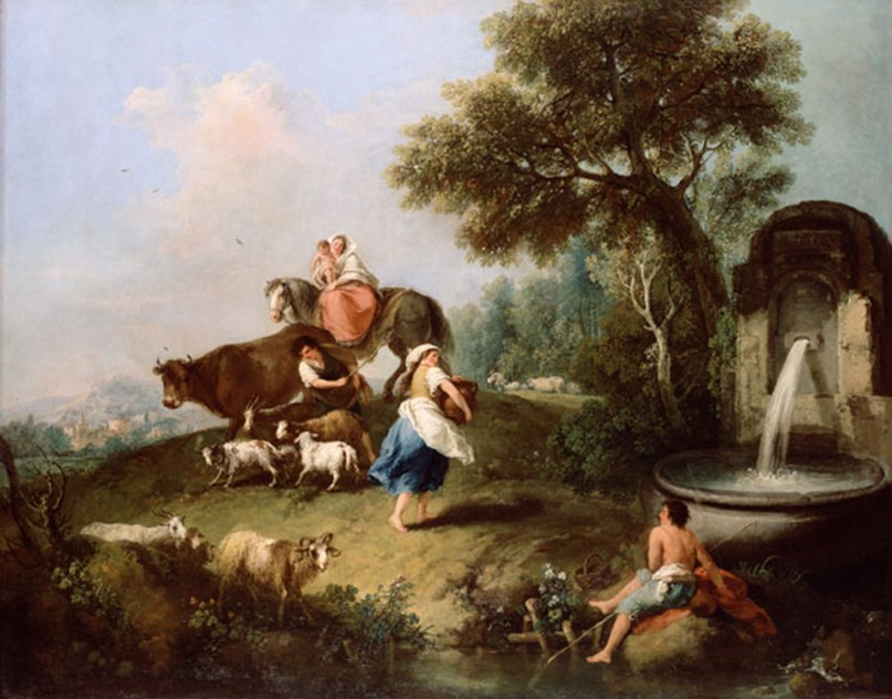 Landscape with a Fountain, Figures and Animals