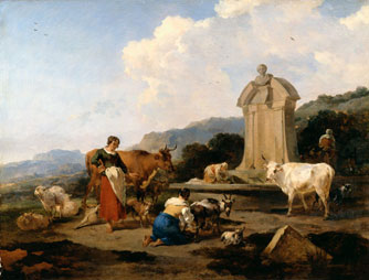 Roman Fountain with Cattle and Figures