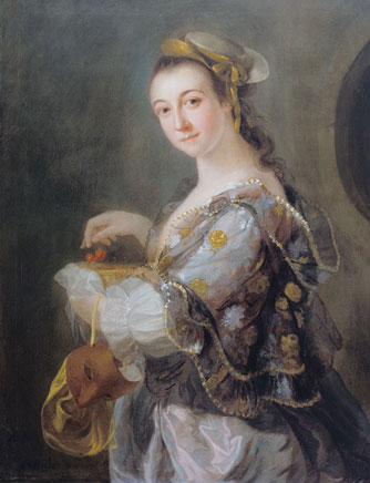 Portrait of a Lady with Mask and Cherries