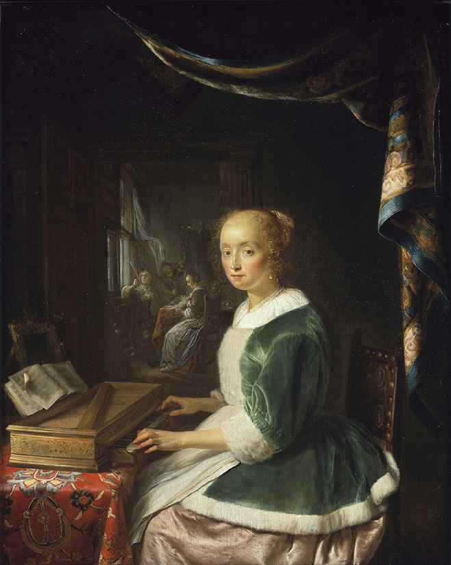 Gerrit Dou , Young Lady Playing The Virginal _web
